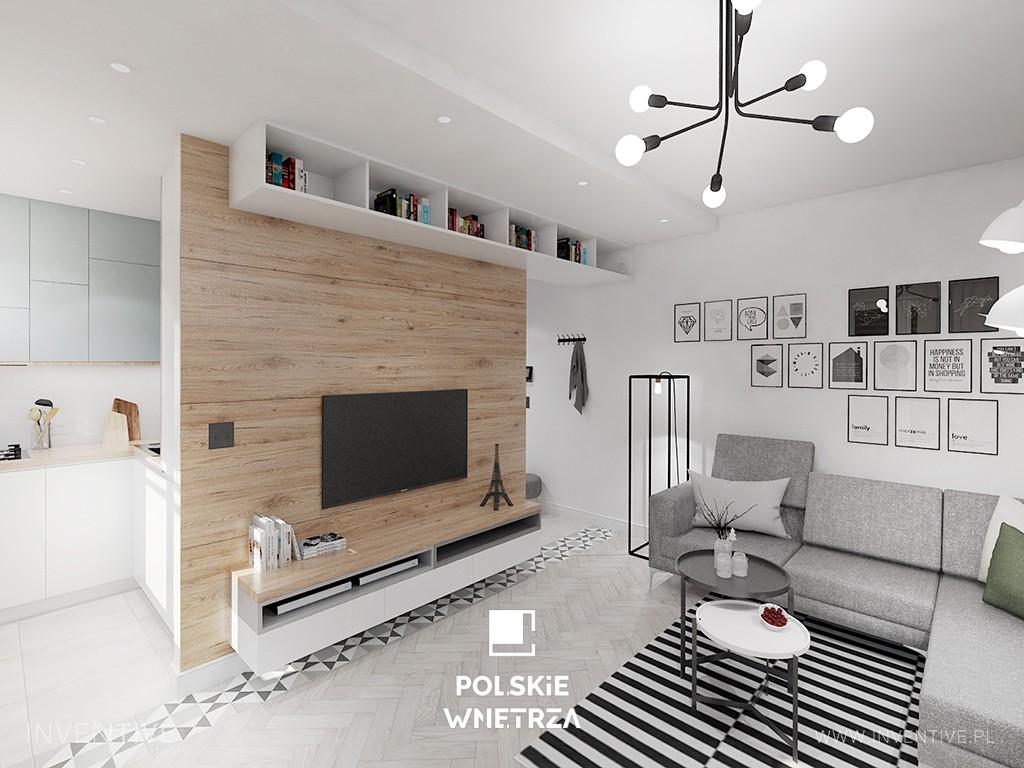 Projekt mieszkania inspirowanego stylem industrialnym na warszawskim Żoliborzu. Polskie Wnętrza - www.polskie-wnetrza.pl