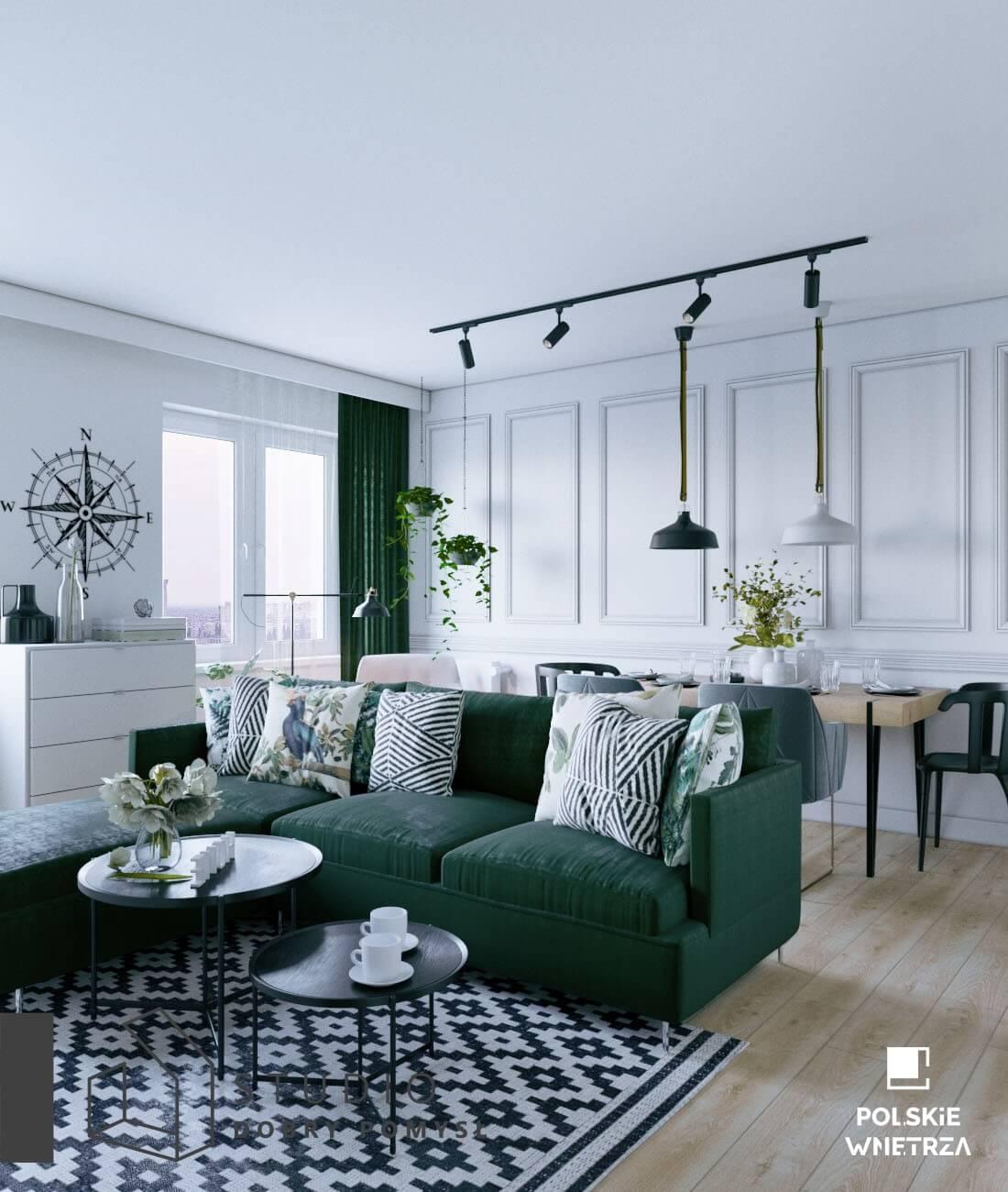 butelkowo zielona kanapa