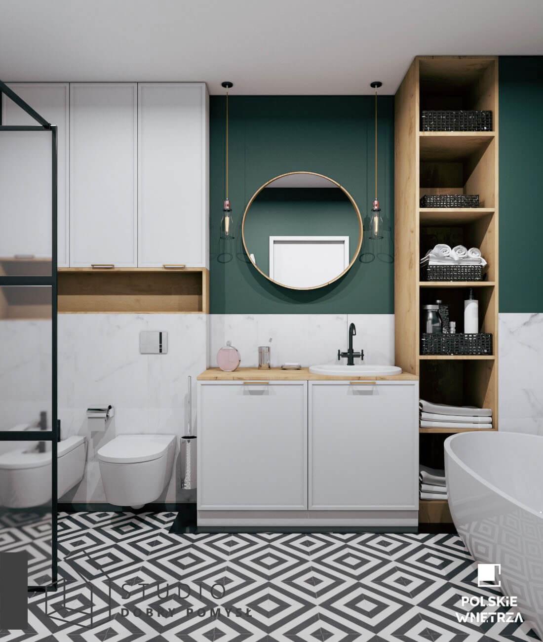 stylowa łazienka z butelkową zielenią 14
